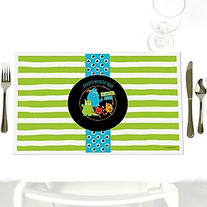 Monster Bash - Party Table Decorations - Personalized Little Monster Birthday Party or Baby Shower Placemats - Set of 12