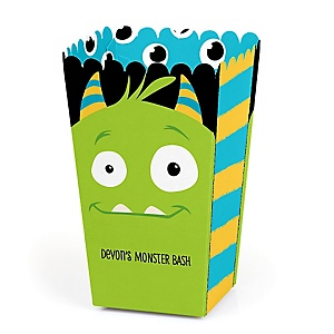 Monster Bash - Personalized Little Monster Birthday Party or Baby Shower Popcorn Favor Treat Boxes - Set of 12