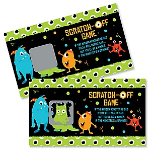 Monster Bash - Little Monster Birthday Party or Baby Shower Scratch Off Cards - 22 Cards