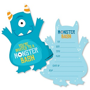 Monster Bash - Shaped Fill-In Invitations - Little Monster Birthday Party or Baby Shower Invitation Cards with Envelopes - Set of 12