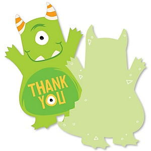 Monster Bash - Shaped Thank You Cards - Little Monster Birthday Party or Baby Shower Thank You Note Cards with Envelopes - Set of 12