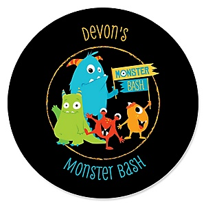 Monster Bash - Personalized Little Monster Birthday Party or Baby Shower Sticker Labels - 24 ct