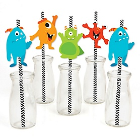 Monster Bash - Paper Straw Decor - Little Monster Birthday Party or Baby Shower Striped Decorative Straws - Set of 24