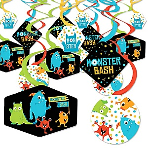 Monster Bash - Little Monster Birthday Party or Baby Shower Hanging Decor - Party Decoration Swirls - Set of 40