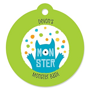 Monster Bash - Personalized Little Monster Birthday Party or Baby Shower Favor Gift Tags - 20 ct