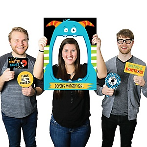 Monster Bash - Personalized Little Monster Birthday Party or Baby Shower Selfie Photo Booth Picture Frame & Props - Printed on Sturdy Material