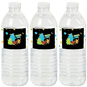 Monster Bash - Little Monster Birthday Party or Baby Shower Water Bottle Sticker Labels - Set of 20