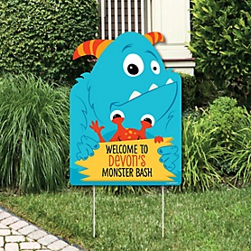 Monster Bash - Party Decorations - Little Monster Birthday Party or Baby Shower Personalized Welcome Yard Sign