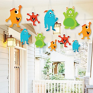 Hanging Monster Bash - Outdoor Little Monster Birthday Party or Baby Shower Hanging Porch & Tree Yard Decorations - 10 Pieces