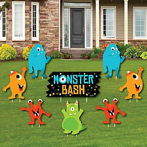 Monster Bash - Yard Sign & Outdoor Lawn Decorations - Little Monster Birthday Party or Baby Shower Yard Signs - Set of 8