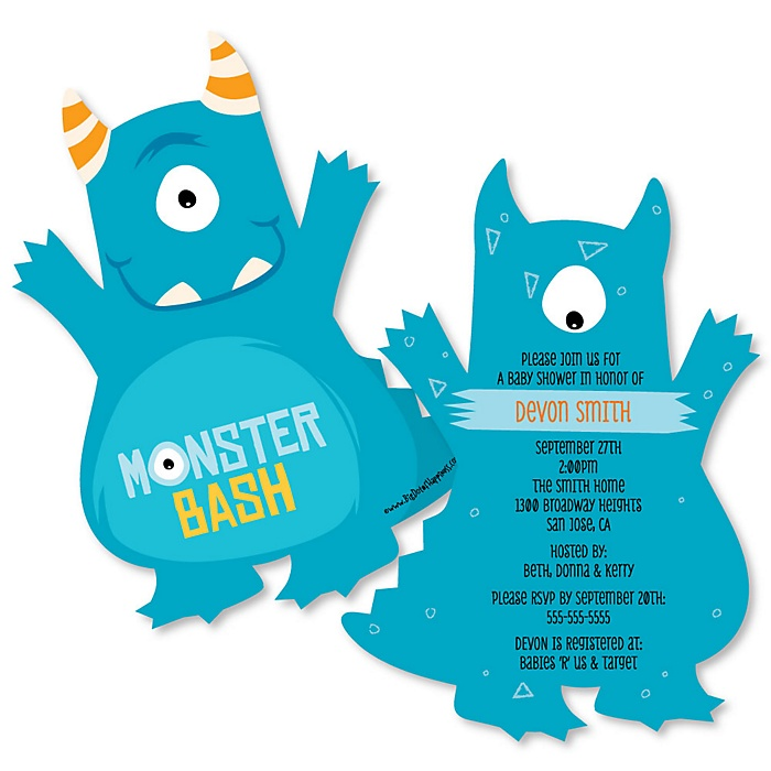 Monster Bash - Shaped Little Monster Birthday Party or Baby Shower Invitations - Set of 12