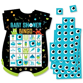 Monster Bash - Picture Bingo Cards and Markers - Little Monster Baby Shower Shaped Bingo Game - Set of 18