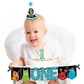 Monster Bash 1st Birthday - First Birthday Boy or Girl Smash Cake Decorating Kit - Little Monster High Chair Decorations