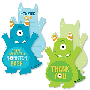 Monster Bash - 20 Shaped Fill-In Invitations and 20 Shaped Thank You Cards Kit - Little Monster Birthday Party or Baby Shower Stationery Kit - 40 Pack