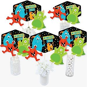 Monster Bash - Little Monster Birthday Party or Baby Shower Party Centerpiece Sticks - Table Toppers - Set of 15