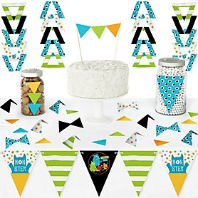 Monster Bash - DIY Pennant Banner Decorations - Little Monster Birthday Party or Baby Shower Triangle Kit - 99 Pieces