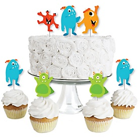 Monster Bash - Dessert Cupcake Toppers - Little Monster Birthday Party or Baby Shower Clear Treat Picks - Set of 24