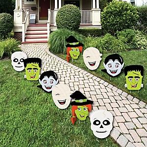 Halloween Monster - Skeleton, Mummy, Vampire, Frankenstein & Witch Lawn Decorations - Outdoor Halloween Yard Decorations - 10 Piece