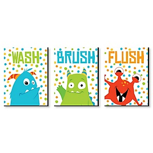 Monster Bash - Kids Bathroom Rules Wall Art - 7.5 x 10 inches - Set of 3 Signs - Wash, Brush, Flush