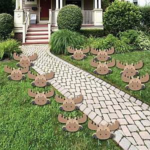 Moose Lawn Décor – Woodland Outdoor Party Decorations & You've Been Moosed Yard Prank – 12 Piece
