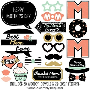 Best Mom Ever - 20 Piece Photo Booth Props Kit