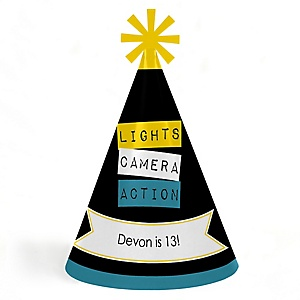 Movie - Personalized Cone Happy Birthday Party Hats for Kids and Adults - Set of 8 (Standard Size)