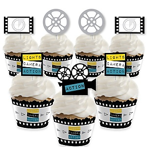 Movie - Cupcake Decoration - Hollywood Party Cupcake Wrappers and Treat Picks Kit - Set of 24