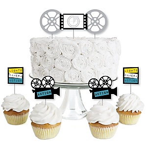 Movie - Dessert Cupcake Toppers - Hollywood Party Clear Treat Picks - Set of 24