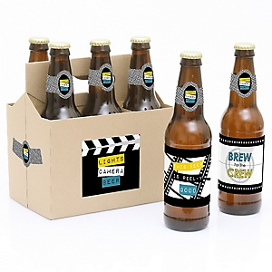 Movie - Decorations for Women and Men - 6 Hollywood Party Beer Bottle Label Stickers and 1 Carrier