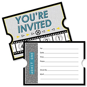 Movie - Shaped Fill-In Invitations - Hollywood Party Invitation Cards with Envelopes - Set of 12