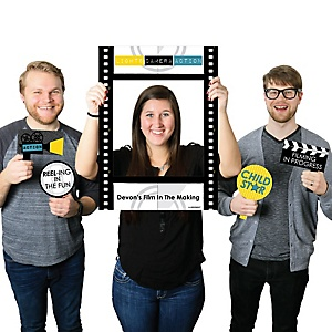 Movie - Personalized Hollywood Party Selfie Photo Booth Picture Frame & Props - Printed on Sturdy Material