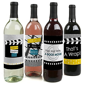 Movie - Hollywood Party Decorations for Women and Men - Wine Bottle Label Stickers - Set of 4