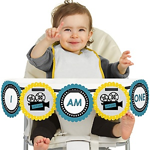 Movie 1st Birthday - I am One - First Birthday High Chair Banner