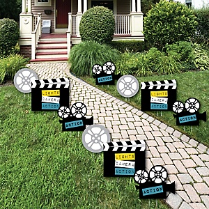 Movie - Camera, Movie Reel and Film Clapper Lawn Decorations - Outdoor Hollywood Party Yard Decorations - 10 Piece