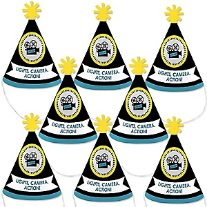 Movie - Mini Cone Hollywood Party Hats - Small Little Party Hats - Set of 8