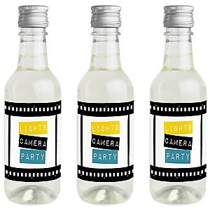Movie - Mini Wine and Champagne Bottle Label Stickers - Hollywood Party Favor Gift - For Women and Men - Set of 16