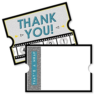 Movie - Shaped Thank You Cards - Hollywood Party Thank You Note Cards with Envelopes - Set of 12