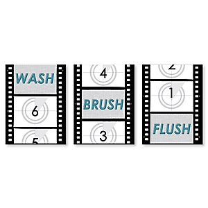 "Movie - Kids Bathroom Rules Wall Art - 7.5"" x 10"" - Set of 3 Signs - Wash, Brush, Flush"