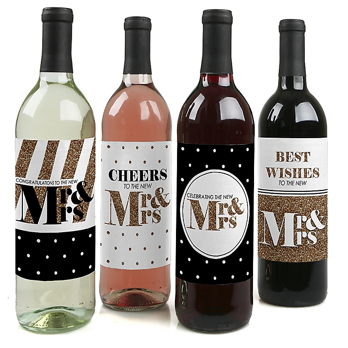 Mr. & Mrs. - Gold - Wedding Decorations for Women and Men - Wine Bottle Label Stickers - Set of 4