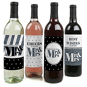 Mr. & Mrs. - Silver - Wedding Decorations for Women and Men - Wine Bottle Label Stickers - Set of 4