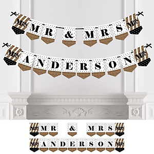 Mr. & Mrs. - Gold - Personalized Wedding Bunting Banner & Decorations