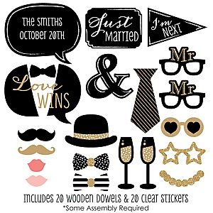 Mr. & Mr. - Gold - 20 Piece Gay Wedding LGBTQ Photo Booth Props Kit