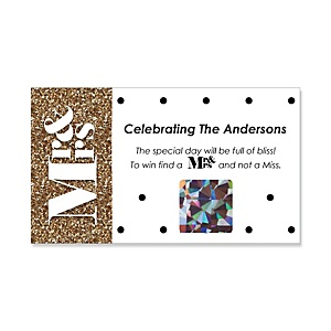 Mr. & Mrs. - Gold - Personalized Wedding Game Scratch Off Cards - 22 ct