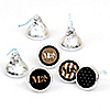 Mr. & Mrs. - Gold - Round Candy Labels Wedding Party Favors - Fits Hershey's Kisses - 108 ct