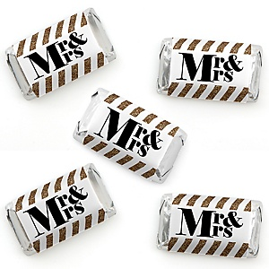 Mr. & Mrs. - Gold - Mini Candy Bar Wrapper Stickers - Wedding or Bridal Shower Small Favors - 40 Count