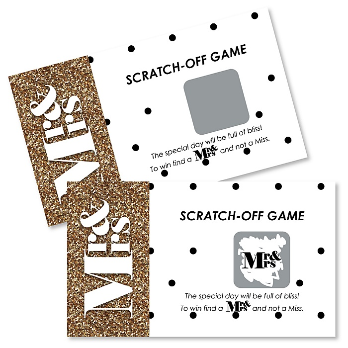 Mr. & Mrs. - Gold - Wedding Game Scratch Off Cards - 22 ct
