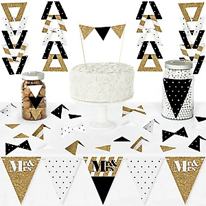 Mr. & Mrs. - Gold - DIY Pennant Banner Decorations - Wedding or Bridal Shower Triangle Kit - 99 Pieces