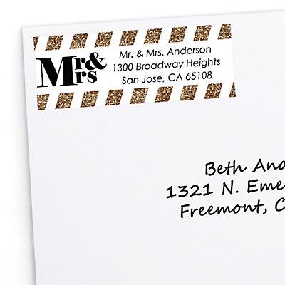 mr mrs gold personalized wedding return address labels 30