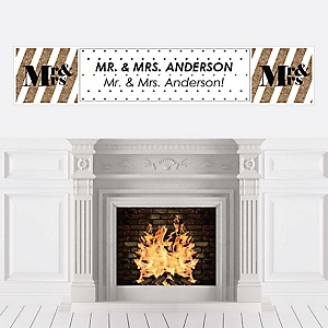 Mr. & Mrs. - Gold - Personalized Wedding Banner