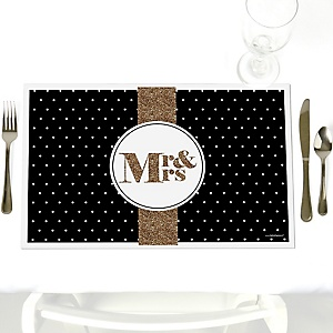 Mr. & Mrs. - Gold - Party Table Decorations - Wedding Placemats - Set of 12